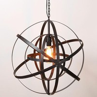 Sphere Ceiling Lamp with Edison Bulb - 21-1/2-in