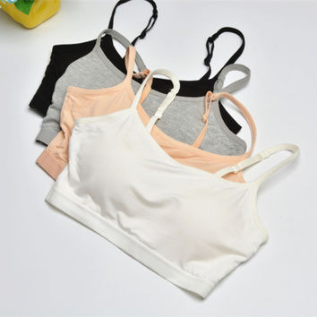 Casual Simple Round Neck Sleeveless Strap Bra Underwear Yoga Sports Vest Crop Top