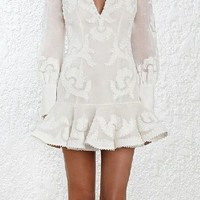 Going Steady Embroidery Long Puff Sleeve V Neck Ruffle Shift Mini Dress - 2 Colors Available - Sold Out