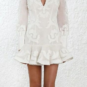 Going Steady Embroidery Long Puff Sleeve V Neck Ruffle Shift Mini Dress - 2 Colors Available