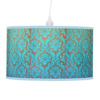 Vintage worn chic hipster damask gold light blue hanging lamp