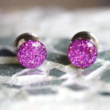 """Pink Holographic Ear Plugs, Sparkly Pink Gauges, Resin Ear Gauges, Plugs for Women - size 4g, 2g, 0g, 00, 7/16, 1/2, 9/16, 5/8, 3/4, 7/8, 1"""""""