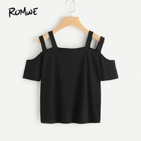 ROMWE Open Shoulder Double Strap Tee Shirt Ladies Short Sleeve Crop Top Women Tops Summer 2018 Black Sexy T-shirt