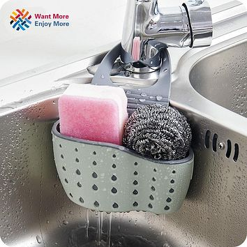 Useful Suction Cup Sink Shelf Soap Sponge Drain Rack Kitchen Sucker Storage Tool