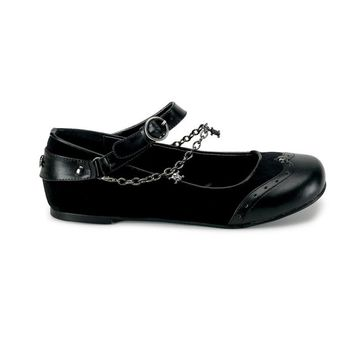 Pleaser Female Mary Jane Wing Tip Flat With Skull Charm Chain DAI07