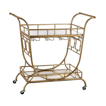 Sterling Industries Mirrored Server Bar Cart in Gold Leaf,Clear 3200-038