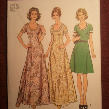 Uncut 1970's Simplicity Sewing Pattern, 5967! Size 14 Bust 36 Medium/Women's/Misses/Long Empire Waist Dress/Scoop Neckline/Princess Seamed
