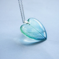 Leaf Necklace Green Blue Heart Resin Jewelry Real Leaf Veins Transparent Pendant Love Romantic 925 Silver Plated
