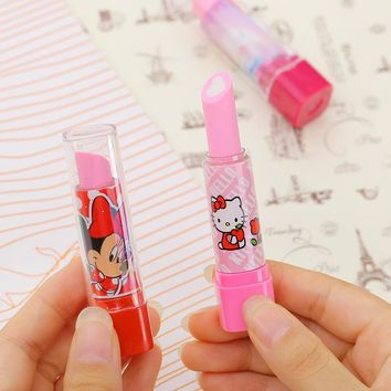 1X Cute Kawaii Hello Kitty Mickey Lipstick Rubber Eraser Correction Kid Gift school Office Supply Student Stationery
