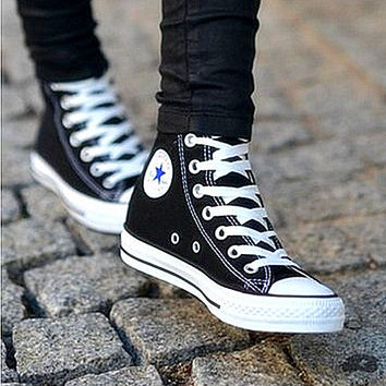 Converse Fashion Reflective Sneakers Hight top Sport Shoes Black