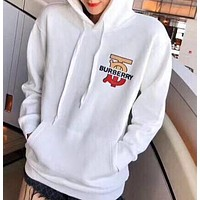 BURBERRY Autumn Winter Fashion Casual Print Hooded Sweater Sweatshirt White