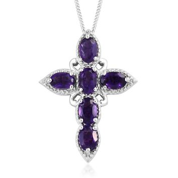 Amethyst Cross Necklace Platinum Over Sterling Silver