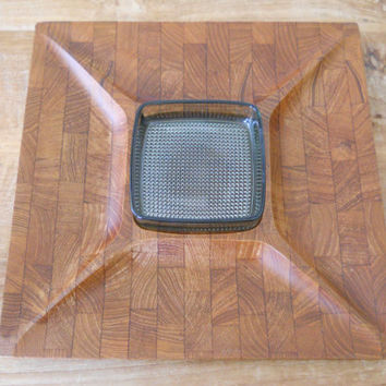 Digsmed Wood Tray with Square Glass Bowl