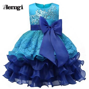 Summer Princess Girl Dress Kids Christmas Party Costumes Baby Lace Tutu Flower Ball Gowns Pageant Boutique Clothes Fast Shipping