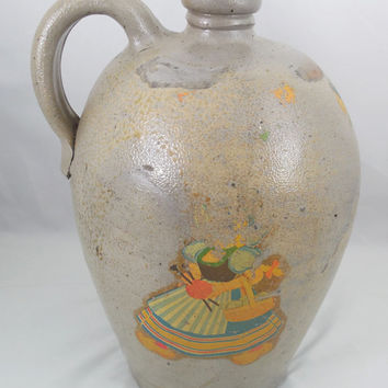 "Antique Gallon Beehive Stoneware Jug, Salt Glazed Jug with Pennsylvania Dutch Markings 11 1/4"" Tall"