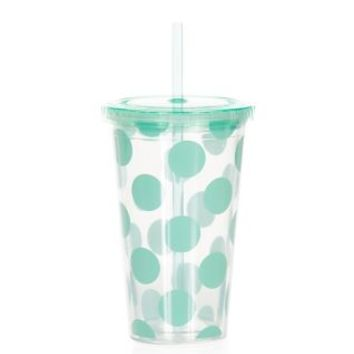 Green Polka Dot Cup With Straw