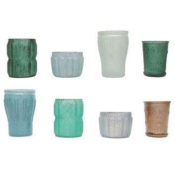 """Set of 8 Blue and Green Glass Tealight Candle Holders - 3-5"""" Tall"""
