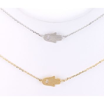 Hamsa Evil Eye Delicate Short Chain Necklace