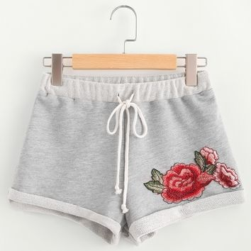 Heather Knit Embroidered Rose Patch Cuffed Shorts