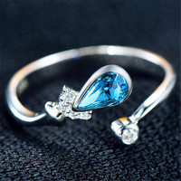 Fashion Casual Jewelry Girls Womens Unique White Gold Ring with Crystal Adjustment Best Gift One Size Rings-89