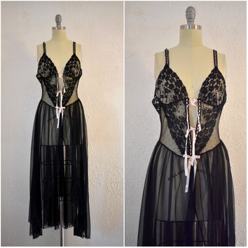 Vintage 1960s Black Lace Sears Night gown