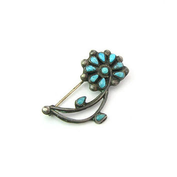 Native American Turquoise Brooch Sterling Silver Desert Flower Zuni Petit Point Small Floral Pin Vintage 1960s Indian Style Jewelry