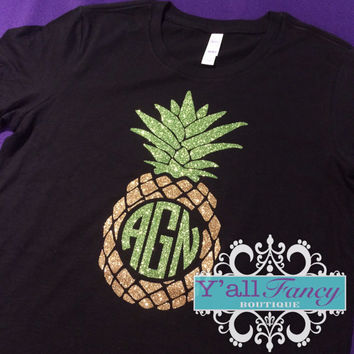 Pineapple Comfort Colors Short Sleeve Sparkly Glitter Monogram