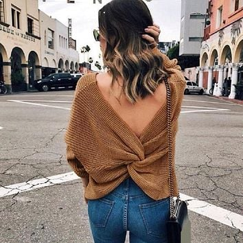 Womens V-neck Backless Sweaters Reversible Long Sleeve Cross Tie Knot Sexy Knitted Tops Short Knitting Pullovers Jumpers 6Q0136