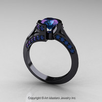 Modern French 14K Black Gold 1.0 Ct Russian Alexandrite Engagement Ring Wedding Ring R376-14KBGAL