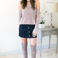Fall Feels Cold Shoulder Sweater - Taupe
