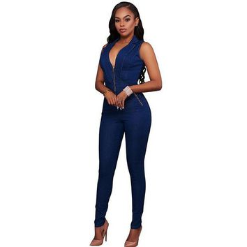 DKLW8 New Summer Women Slim Casual Jumpsuits Jeans Deep V Sleeveless Rompers Female Sexy Club Zipper Overalls Macacao Feminino
