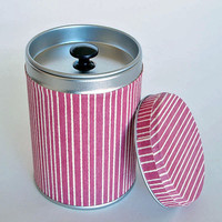 "SALE: Tea canister and storage tin, treat jar, crimson color and stripes ""Kaito"""