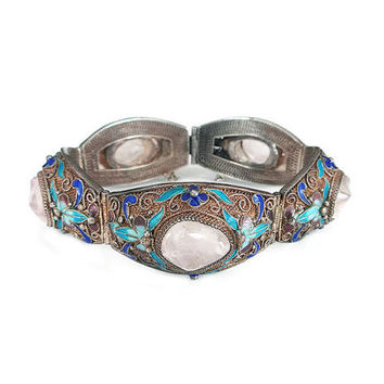 Chinese Export Bracelet, Rose Quartz, Silver Filigree, Enamel Butterfly, Blue Purple, China Silver, Vintage Bracelet, Vintage Jewelry