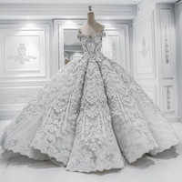 Robe De Mariage Princess Wedding Dress Luxurious Chapel Train Vestido De Novia Satin With Beading Ball Gown Wedding Dresses 2017