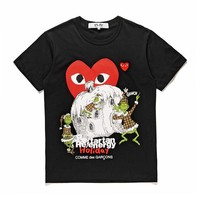 Best Deal Online Men's CDG PLAY COMME DES GARCONS Play  DSM limited edition Fashion Black Re-tartan Re-energy Holiday Black T-Shirt