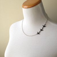 These Three Birds Necklace - Divergent Inspired Necklace - Tris Prior Inspired Necklace- Three Ravens Necklace