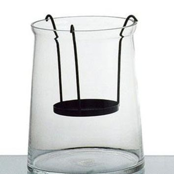 "Clear Glass Container with Attached Black Metal Candle Holder - 8"" Tall x 6.5"" Wide"