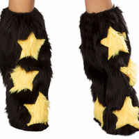 Rave Fluffies Black with Yellow Stars
