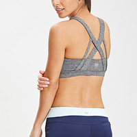 FOREVER 21 Medium Impact - Crossover Back Sports Bra Charcoal