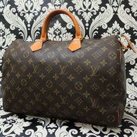 Rise-on LOUIS VUITTON MONOGRAM SPEEDY 35 HANDBAG Purse #117