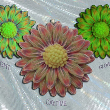 Rainbow Pride Daisy Pendant Glow in the Dark Flower Millefiore Jewelry by EyeGloArts Handmade in the USA