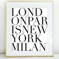 Fashion Cities Print - Wall Decor - London - Paris - New York - Milian - Art Print