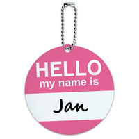 Jan Hello My Name Is Round ID Card Luggage Tag