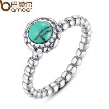 Birthday Blooms Ring, December, Turquoise Ring Fine 925 Sterling Compatible with Pan