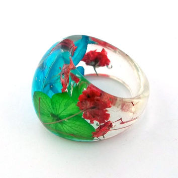 Resin Ring. Pressed Flower Resin Ring.  Cocktail Ring.  Handmade Jewelry with Real Flowers - Red Baby's Breath, Blue Green Hydrangea