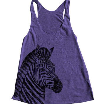 ZEBRA Women Tank Top American Apparel Triblend Racerback Tank Top Hand Screen Printed