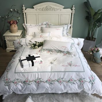 Floral White Princess style White Egyptian cotton Bedding Set King Queen size Bed set Duvet Cover Bed Sheet set Bedlinen