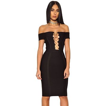 Gold Chain Crisscross Lace up Black Bandage Dress | CLEARANCE