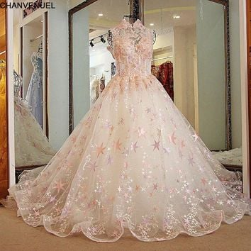 LS21880 Pink wedding dress Sexy Backless High Neck Ball Gown Appliqued Tulle Beaded beaded Bridal Dresses with Colorful Stars