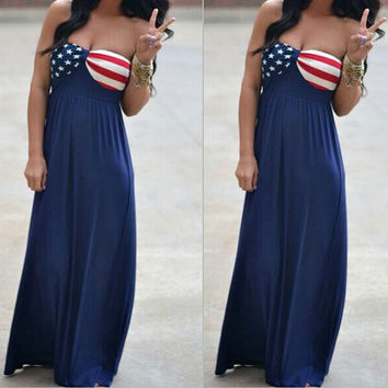 American National Flag Maxi Dress Fourth of July the 4th Mura Maui Pink Lily Boutique